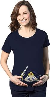 Maternity Peeking Women Warrior Superhero Pregnancy Shirt