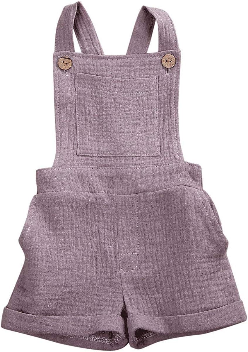Mubineo Toddler Girl Boy Basic Plain Pocket Bib Overalls Summer Overall Shorts