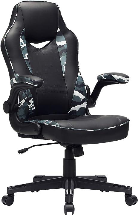Sedia da ufficio con braccioli regolabile in altezza e inclinazione colore nero e militare obg064b02 songmics
