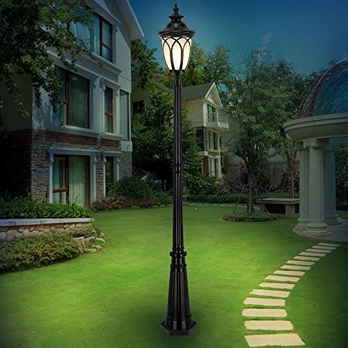 FENGLIAN Victorian IP55 Waterproof Outdoor Garden Post Lawn Lamp European Glass Lantern External Column Lamp E27 Decoration Street Light Lawn Villa Lamp Post Lamp Path Decking Aluminum Metal Patio Lig