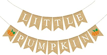 Rainlemon Jute Burlap Little Pumpkin Banner Fall Autumn Baby Shower Diaper Party Birthday Party Garland Decoration