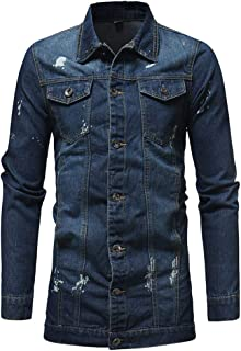 Mens Hipster Hip Hop Button Down Long Sleeve Denim Jacket