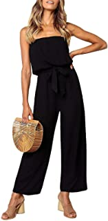 Women's Casual Off Shoulder Solid Color Strapless Belted...
