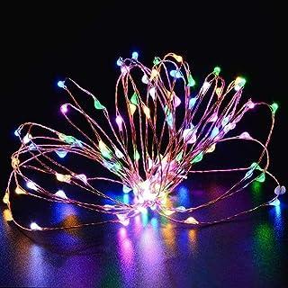 16.4 Feet 50 LED RGB Fairy LED Line Light Outdoor, Waterproof Wire Line Light Battery Run Star Firefly Line Light Bottle G...