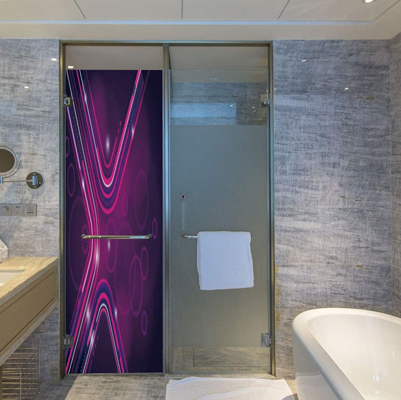 YOLIYANA Stained Glass Window Film,Eggplant,for Bathroom Shower Door Heat Cotrol Anti UV,Abstract Purple Parallel Lines in a Violet Environment,24''x78''