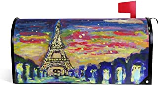 fudin Magnetic Mailbox Cover, Art Painting France Paris Eiffel Tower Mailbox Wrap Home Decor Art Post Letter Box Cover Size 21x18 Inch