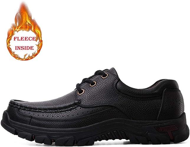 2018 Oxford Casual Casual Faux Fleece pour homme à l'intérieur de chaussures confortables de loisirs en plein air à lacets de taille basse (en option) . ( Couleur   Warm noir , Taille   40 EU )