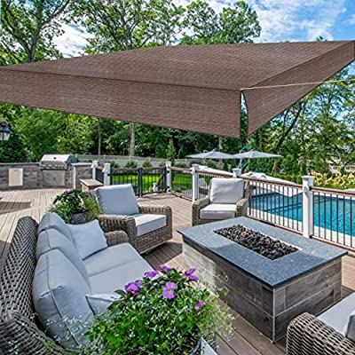 Amazon - 73% Off on Square Brown Sagging Sun Shade Sail Canopy UV Block Awning for Outdoor