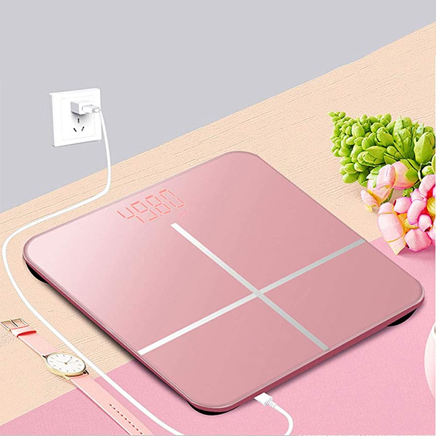 下位ハイキング家畜高精度デジタルスケール, 隠されたスクリーンガラス, スリムデザインスケール, スマート電子はかり, USB充電式バックライト付きLED大型ディスプレイ, 電子天秤,Pink