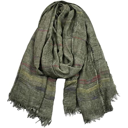 Kangqifen Unisex Soft Striped Scarf with Tassels Cotton Linen Solid Color Scarves 75 x 35 inch