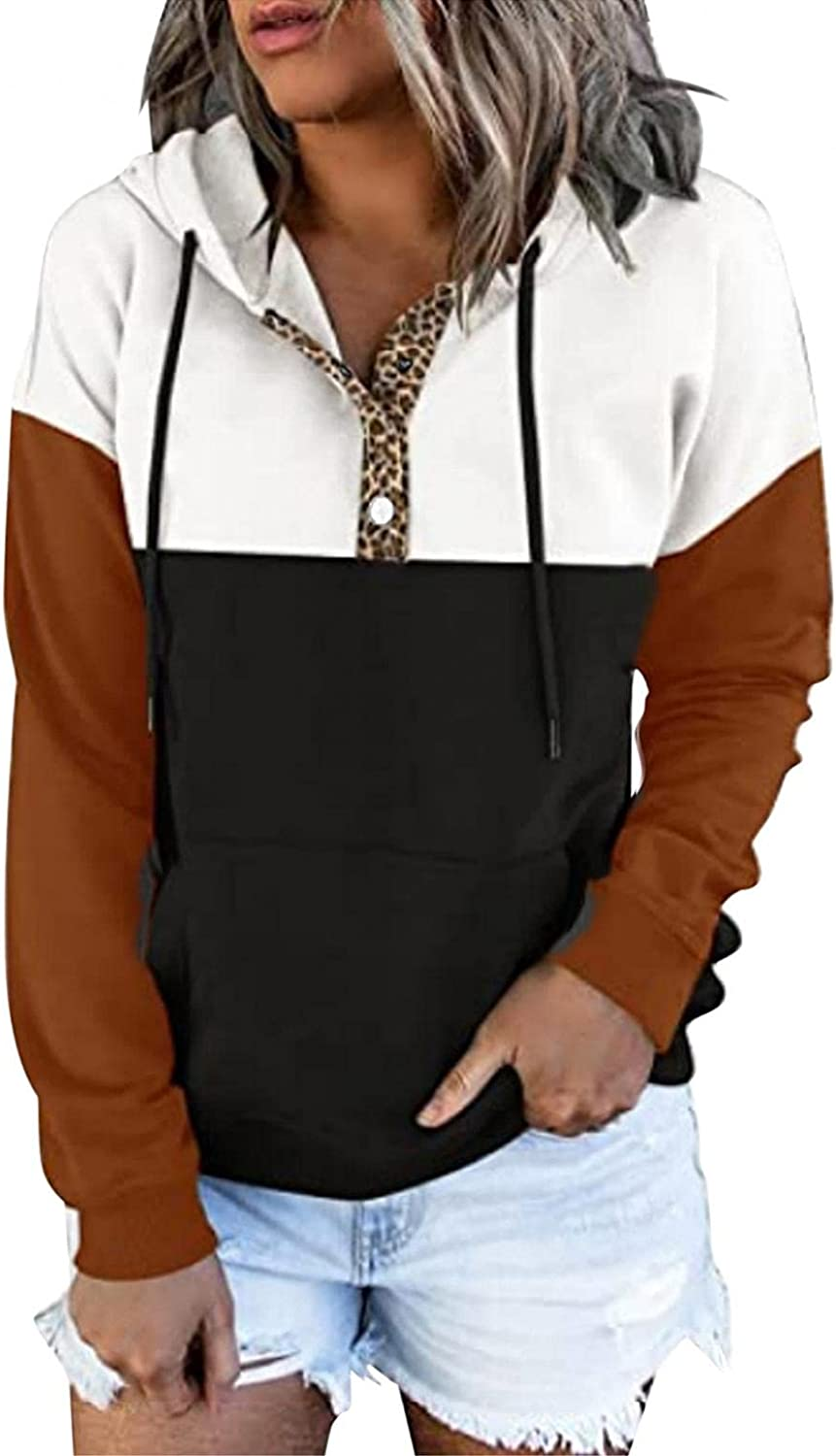 felwors Hoodies for Women, Womens Long Sleeve Pullover Hoodies Button Down Casual Sweatshirt Basic Loose Plus Size Coat