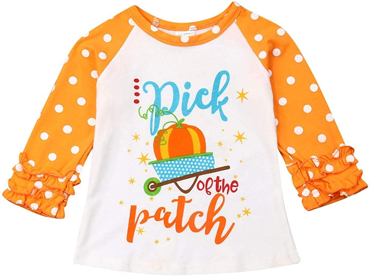Baby Halloween Tops Kids Girls Unicorn Pumpkin Raglan Ruffle Str