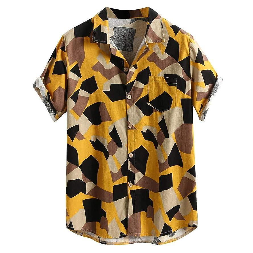 Men's Standard-Fit Short-Sleeve Printed Shirt, Hawaiian Printed Hawaiian Cotton Linen Loose Casual Buttons T Shirt