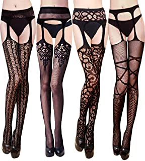VERO MONTE 4 Pairs Women's Suspender Pantyhose Thigh High Stockings Garter Belt