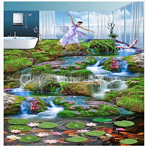 Klassieke 3D Behang Mooie Brook Waterstroom High-Definition Lotus Zwembad Stereo 3D Vloeren Tegel Schilderen 250cm(L) x180cm(W)