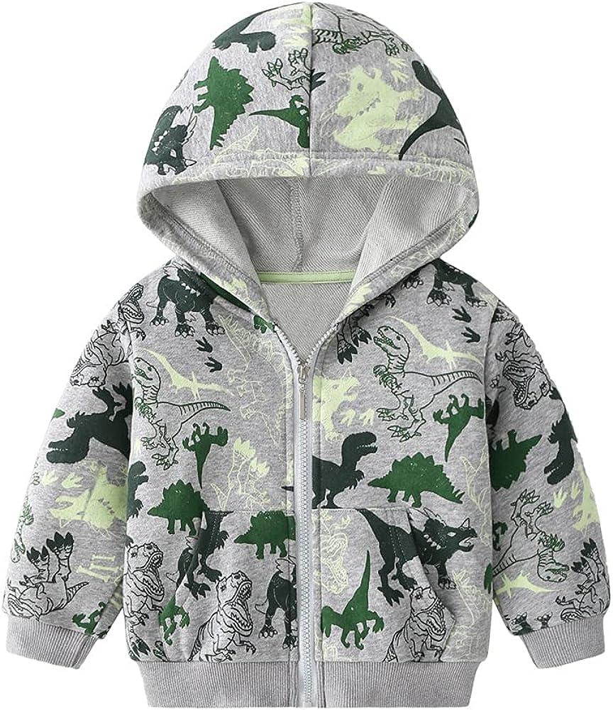LittleSpring Little Boys Dinosaur Hoodie Full Zip Cartoon Soft Camo