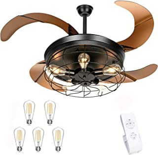 42 Inches Industrial Ceiling Fan with Lights and Remote...