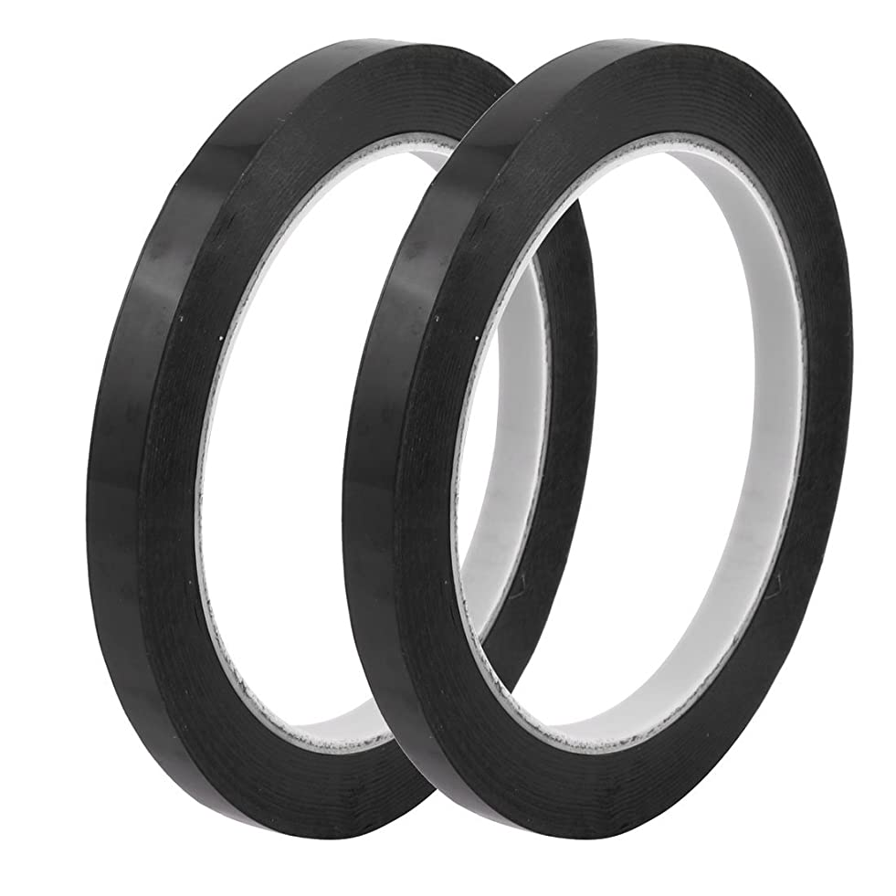 uxcell 2pcs 8mm Width 66m Length Waterproof Black Single Sided Adhesive Marking Tape q186901192