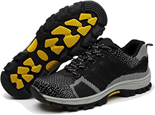 FIIOW Lightweight Casual Sporty Work Safety Shoes, Steel Toe Cap Anti-Puncture Midsole Daily Use Footwear, Comfortable and Breathable Sneakers