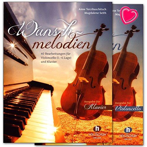 Wunschmelodien - Mappe mit Klavier- und Cellostimme/Set mit bunter herzförmiger Notenklammer - VHR3427-9783864340185