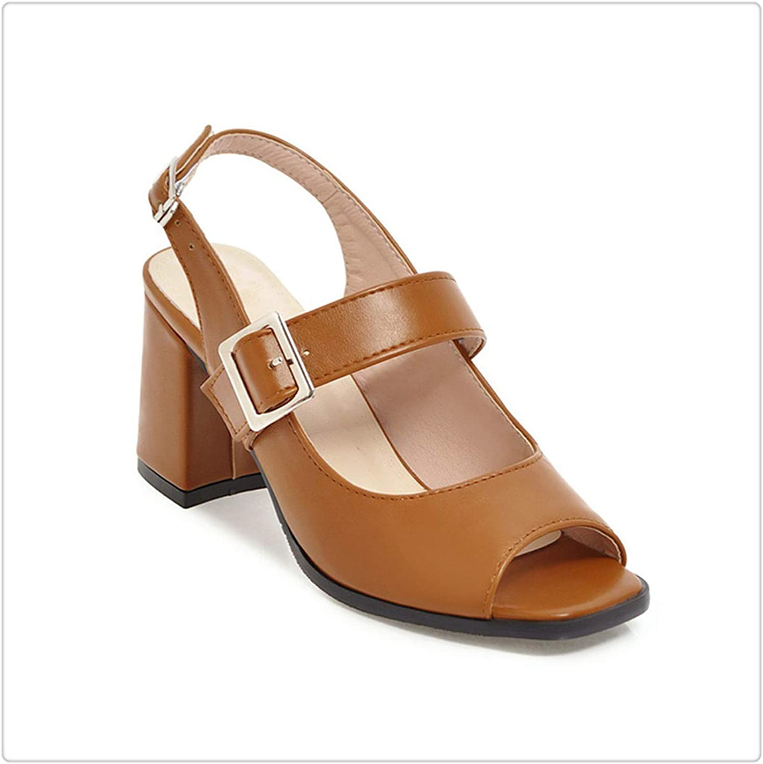 ECOLAQ& High Heels Sandals Women Buckle Back Strap Sexy Peep Toe Square Heels Footwear