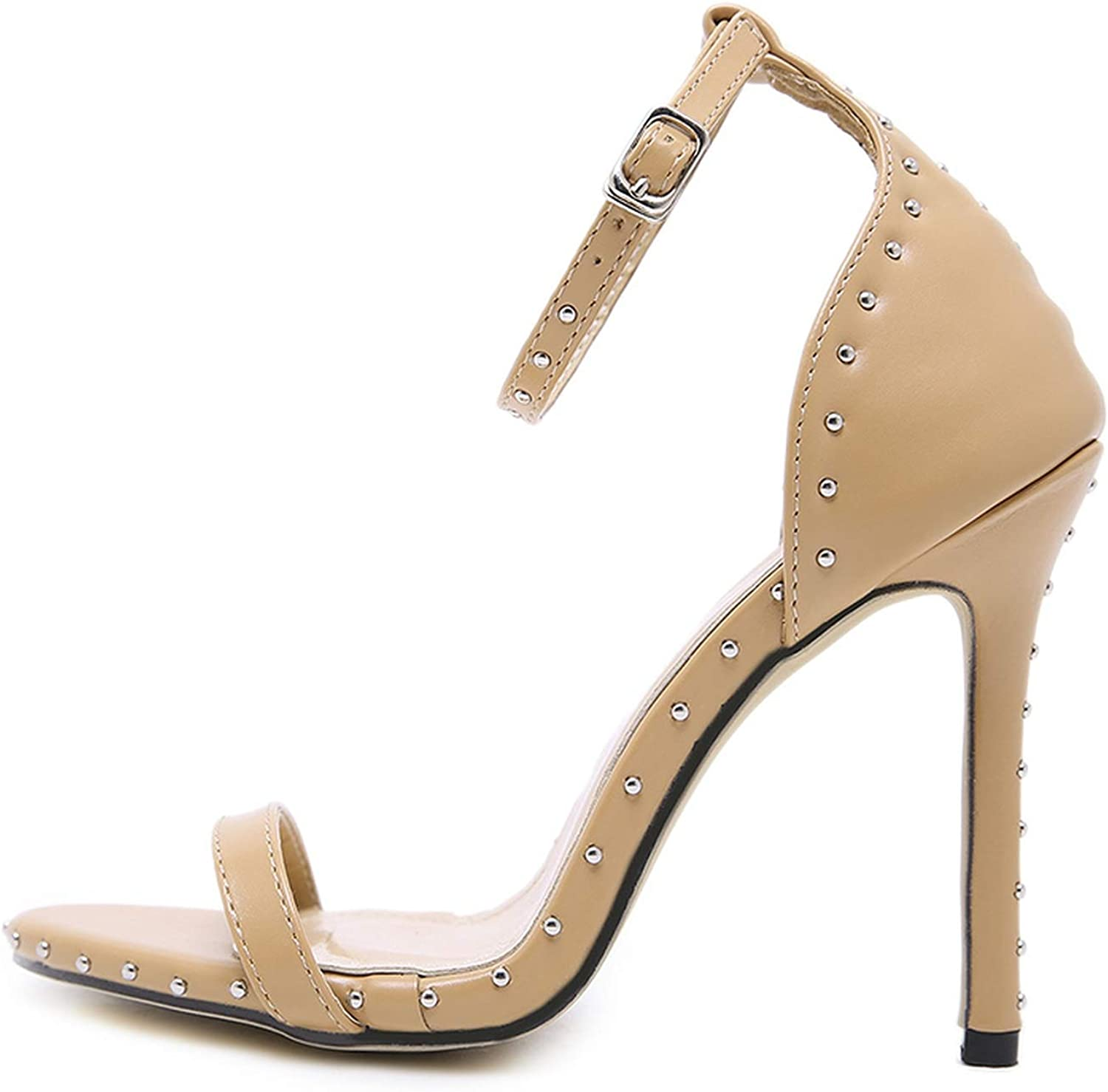 High Heels Sandals Women Ankle Strap Rivet Open Toe Thin Heels High shoes Rome Style shoes