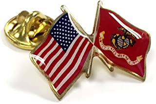 US-USMC Marine Corps Crossed Flags Lapel Pin, Made in USA