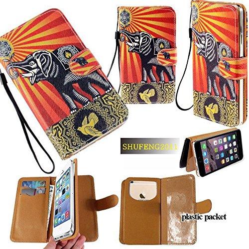Universal PU Leder Geldbörse/Clutch/Tasche/Etui passend für Apple Samsung LG Motorola etc. Damen Cute Wristlet Strap Flip Hülle Elefant unter der Sonne–mittelgroß. Passend für die Modelle unten: