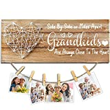 Cocomong Gifts for Grandma from Granddaughter and Grandson, Grandkids Picture Frame, Grandmother Birthday Gifts Photo Holder 13.5 X 5.5 Inch with 6 Clips