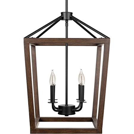 Motini 4 Light 12 Lantern Pendant Light For Kitchen Island Farmhouse Chandelier With Adjustable Chain Hanging Foyer Light Fixtures For Entryway Dinning Room Black And Brushed Nickel Finish Amazon Com