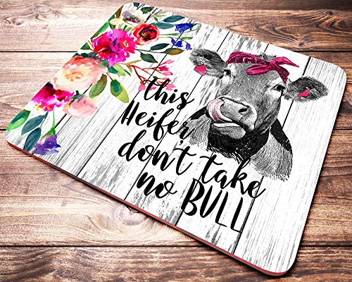 This Heifer Don't Take No Bull Funny Heifer Mouse Pad Pink Floral Cow Mousepad Farmhouse Desk Decor