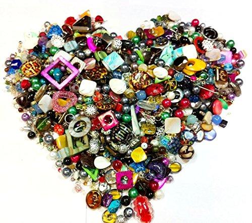 1 Kilo Bastlerbedarf Mix Perlen Glas Metall Holz Überaschungspaket NEU