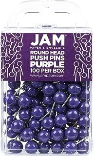 JAM PAPER Colorful Push Pins - Round Head Map Thumb Tacks - Purple Pushpins - 100/Pack