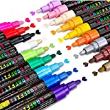 Acrylic Paint Pens, Emooqi Set of 18 Colors Paint Markers Pens for Rocks, Craft, Ceramic, Glass, Wood, Fabric, Canvas -Art Crafting Supplies