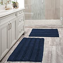 Extra Thick Chenille Bath Mats Set Non Slip Striped Bath Rugs Bathroom Rugs Mats Soft and Water Absorbent Shag Indoor Kitc...