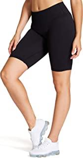 Aoxjox Women's Mid Waisted Ribbed Workout Yoga Gym Seamless Biker Shorts