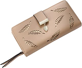 OULII Buckle Clutch Wallet Hollow Leaves Long Leather Purse Elegant Clutch Wallet for Card Cash Holding Women (Apricot)