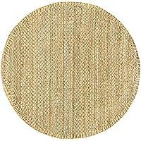 HAMID - Alfombra de Yute Granada Redonda 100% Fibra de Yute Natural - Alfombra Suave - Tejida a Mano - Alfombra de Salón, Dormitorio, Terraza, Entrada - Natural (100x100cm)