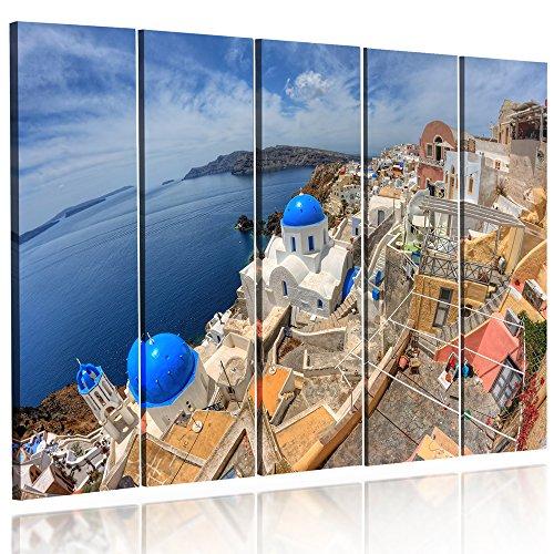 Feeby Frames, HDR - Cuadro en Lienzo - 5 Partes - Cuadro impresión, Cuadro decoración, Canvas 70x100 cm, Tipo CISLA Griega, MAR, Azul, Blanco, Beige