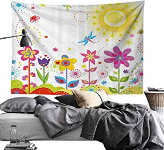 Homrkey Decorative Tapestry Floral Summer Season Sun Butterflies Dragonfly Flowers Happiness Nursery Kids Spring Theme Wall Hanging W93 x L70 Multicolor