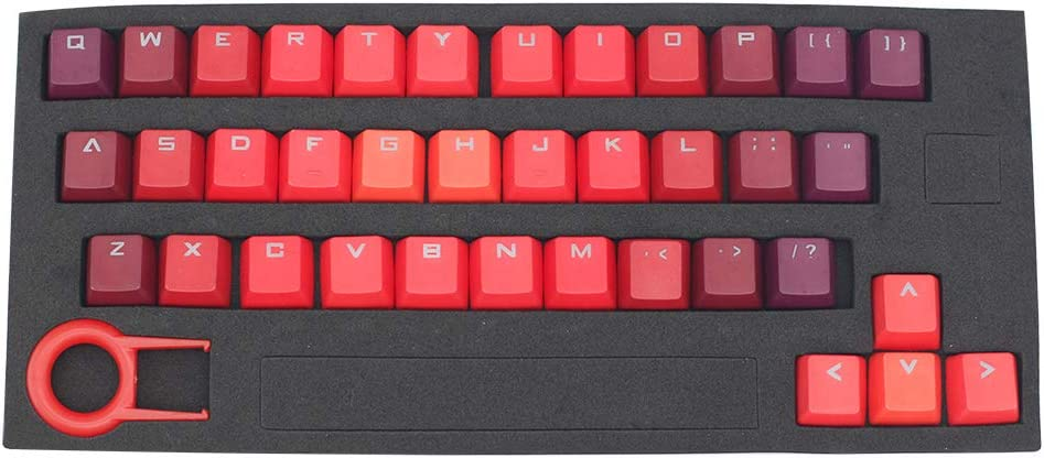 Gradient Color Keycap 37 PBT Double Shot Injection Backlit Keycaps Replacement for Cherry/ikbc/NOPPOO/Ducky Mechanical Gaming Keyboards(Flame Gradient Color)