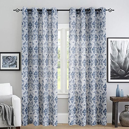 "jinchan Medallion Linen Curtains for Living Room Curtain Panels Flax Retro Print Linen Blend Damask Curtains for Bedroom Window Panels 95"" Blue Drapes 1 Pair"