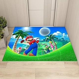 GOOCO Tapis Rectangulaire Super Mario Mario Tapis Chambre d'enfants Jeu Anime Antidérapant Cuisine Chambre Tapis Tapis
