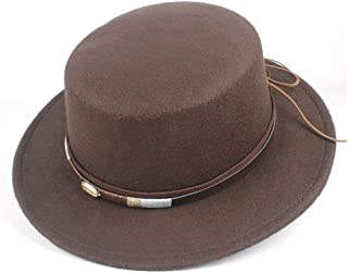 2019 Mens Womens Hats New Women Men Unisex Flat Top Fedora Hat Winter Elegant Lady Wool Fascinator Trilby Church Hat Wool Polyester Casual Wild Hat (Color : Coffee, Size : 56-58)
