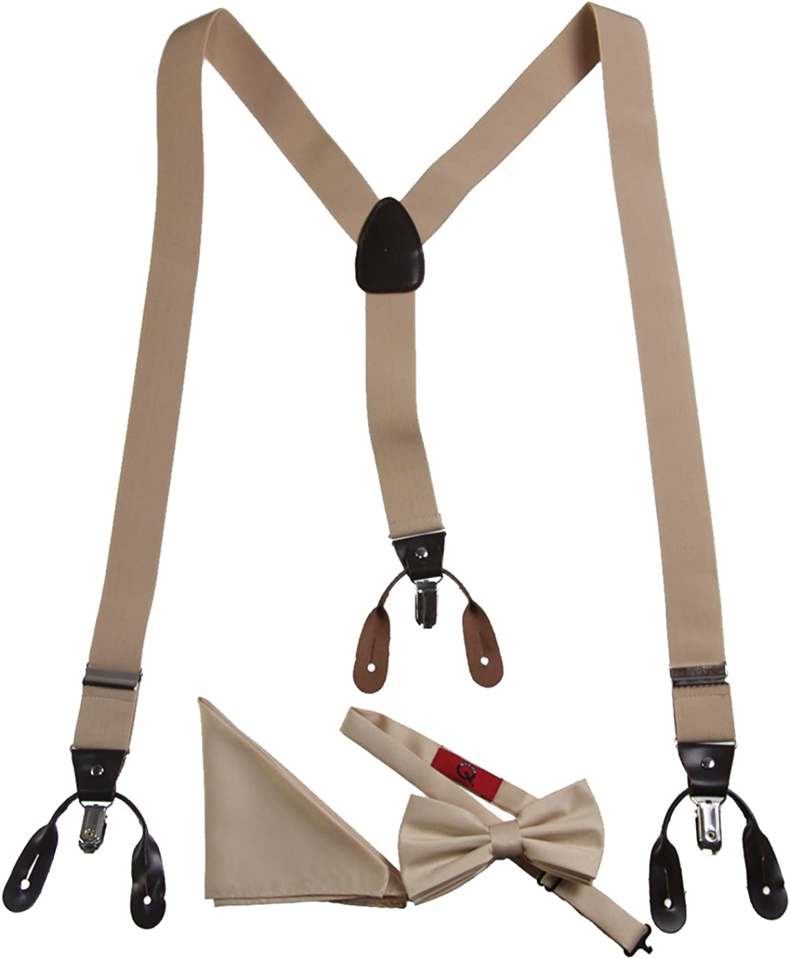 Adults Tan Boxed Suspender, Bow Tie, and Pocket Hanky Set Button or Clip-on