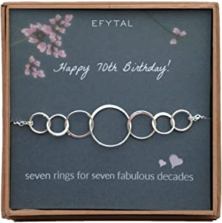 EFYTAL 70th Birthday Gifts for Women, Sterling Silver Seven Circle Bracelet for Her, 7 Decade Jewelry 70 Years Old