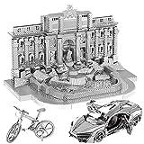 BBYaki 3D-Puzzle Metal Roman Trevi Fountain + Mountain Bike + Sports Car 3 Piezas, Montaje de Kits de Modelos de Corte por Láser, Juguete DIY para Niños