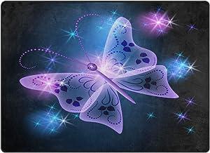 Use7 - Alfombra Abstracta con diseño de Mariposas y Estrellas para Sala de Estar o Dormitorio, Tela, 160cm x 122cm(5.3 x 4 Feet)