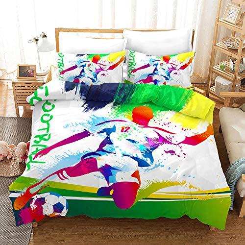 Juego de Ropa de Cama 3 Piezas Fútbol cómico Tres Piezas Home Bed Set Print Es Y Liviana Funda de Almohada de poliéster Ultra Suave Fundas 140cm x 200cm