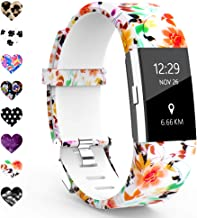 TreasureMax Compatible with Fitbit Charge 2 Bands for Women/Men,Silicone Fadeless Pattern Printed Floral Bands for Fitbit Charge 2 HR Wristbands